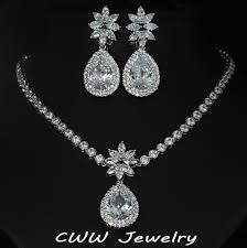 bridal jewelry necklace earrings images Cwwzircons african design cubic zirconia bridal wedding big flower jpg