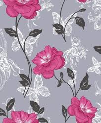 Shabby Chic Wallpapers by Flower Trail Pink Black Grey Butterflies Shabby Chic