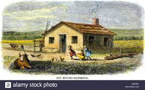 pioneer family sod house on the kansas great plains 1800s stock
