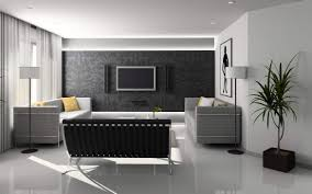 modern living room with black wall decorations also sofa and