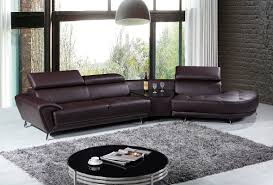 Modern Leather Sectional Sofas Casa Raizel Modern Brown Leather Sectional Sofa
