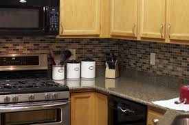 simple kitchen ideas with brown black gray subway glass tile