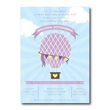 up up away air balloon baby shower invitation purple