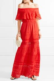alice olivia pansy off the shoulder embroidered cotton maxi
