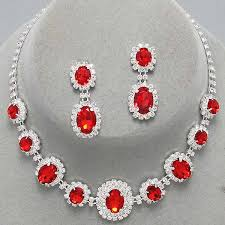 red crystal necklace set images Red rhinestone necklace images jpg