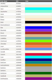 list of color color name in html5