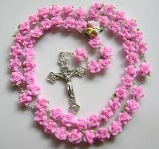 pink rosary haandmade pink soft cerami rosary cross catholic