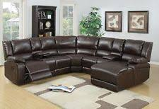 Brown Leather Reclining Sofa by Leather Reclining Sofa Ebay