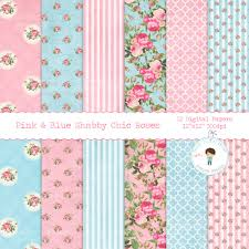 Shabby Chic Rose by Pink U0026 Blue Shabby Chic Roses Digital Paper Floral Scrapbook Paper