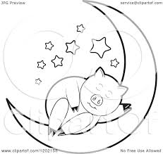 clipart of a black and white pig on a crescent moon