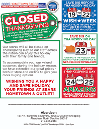 sears in aberdeen closed for thanksgiving