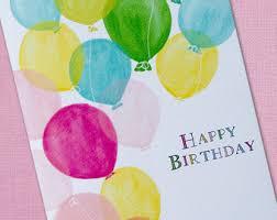 watercolor balloons birthday card
