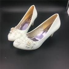 wedding shoes size 12 ivory white bridal low heels wedding shoes flower lace crystals