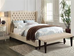 acme furniture 20644 beige wingback tufted nailhead trim platform