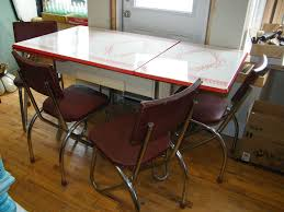 vintage metal kitchen table the games factory 2 white enamel mid century and chrome