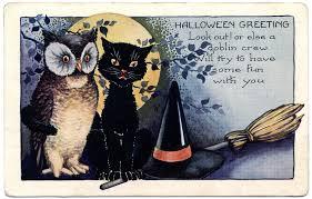 halloween clip art vintage owl u0026 cat the graphics fairy