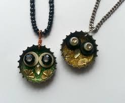 bottle cap necklaces diy junk craft owl pendant how to make a bottle cap pendant