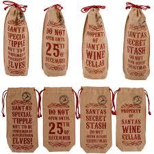 vintage style jute hessian wine bottle christmas xmas present bag