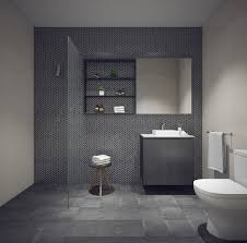 dark floors and feature tiles in a windowless bathroom 10 12