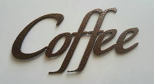 coffee word sign small kitchen home decor metal wall art