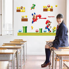 newest super mario cartoon game home decal wall sticker funny boys