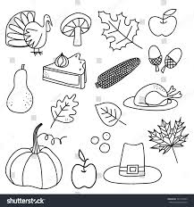 thanksgiving doodle icons stock vector 321545243