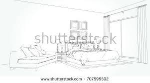 linear sketch interior living room plan stock vector 685166827
