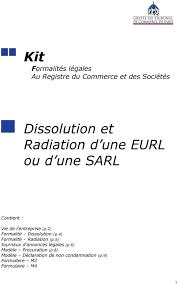 radiation chambre de commerce kit formalités légales au registre du commerce et des sociétés