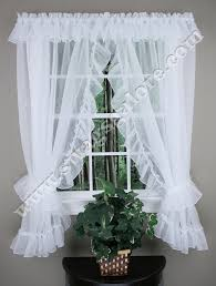 Ruffled Kitchen Curtains Jessice Sheer Ruffled Priscilla Curtains Style 2830 100 W X 54