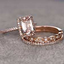 promise ring engagement ring and wedding ring set for women 3pcs 1 4ct cut morganite engagement ring 14k