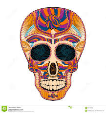 dia de muertos skull day of the dead colorful stock