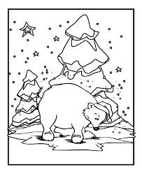 polar bear wearing santas hat on winter season coloring page