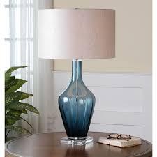 Small Blue Desk Lamp Uttermost Hagano 26191 1 Blue Glass Table Lamp Hayneedle