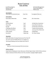 Best Acting Resume Font by Resume U2014 Ryan Caraway