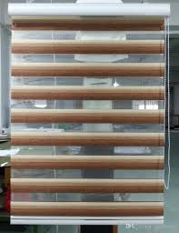custom made ranslucent double layer roller zebra blinds in brown