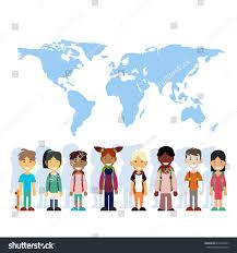 Map International Children Mix Race Group Over World Stock Vector 616490657