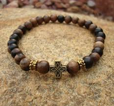 beads with cross bracelet images Prayer bracelet with tiger ebony beads wood and antiqued metal jpg