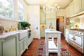 narrow kitchen island for galley kitchen design with chandelier