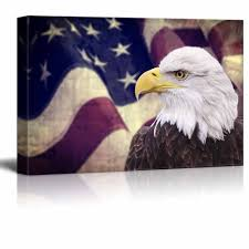 Bald Eagle And American Flag Amazon Com Wall26 Canvas Prints Wall Art Bald Eagle With The