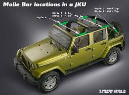 jeep wrangler top 4 door jku jeep wrangler molle bar storage kit top
