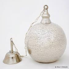 egyptian silver plated spherical lamp with holes