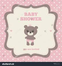 teddy bear baby shower invitations baby shower invitation template pink brown stock vector 225726415