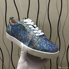 2017 glitter sneakers flats low top red bottom casual shoes women