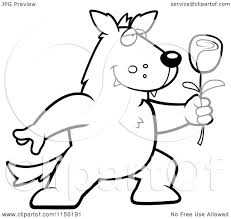 cartoon clipart of a black and white romantic wolf holding out a