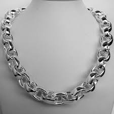 big chain necklace silver images Sterling silver hollow oval chain necklace 14mm jpg