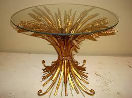 vintage gold side table era antiques vintage 1950 s 60 s gold leafed metal wheat sheaf