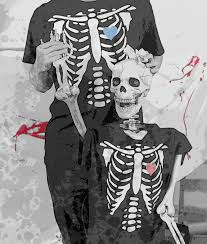 Skeleton Matching Couple Shirts For Halloween Day