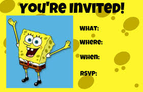 Printable Party Invitation Cards Spongebob Squarepants Party Invitations Cloveranddot Com