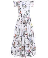 vivetta safari printed cotton dress in white lyst