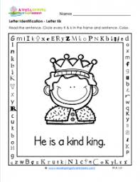 letter identification letter k worksheets alphabet worksheets